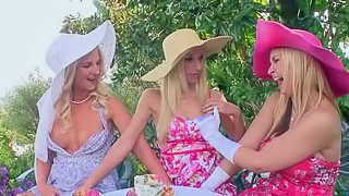 Sammie Rhodes, Sarah Vandella and Natalie Nice three elegant blond-haired lesbians. They kiss then bare their neatly shaved pussies and sexy boobies to have fun in the open air. Watch three beautiful lesbian ladies do it in the garden
