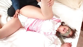 Satin is sexy on Japanese girl getting licked