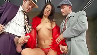Two elegant gents from 2 s cant resist the charm of brunette lady in red. They fuck Malaya at both ends before double penetration. Shes in the middle of the sandwich as she gets double fucked standing up