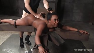 Dungeon girl is bound and used for sexual pleasure